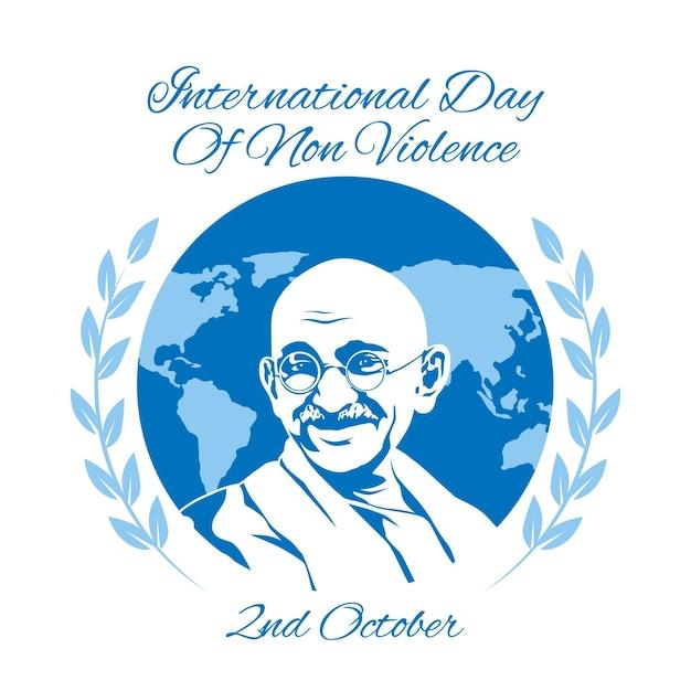 Journée Internationale De La Représentation De La Non-violence Au Design Plat Illustré Vecteur gratuit