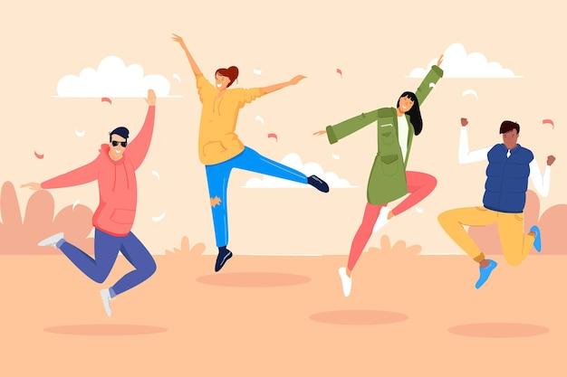 Journée De La Jeunesse Avec Les Sauteurs Vecteur Premium