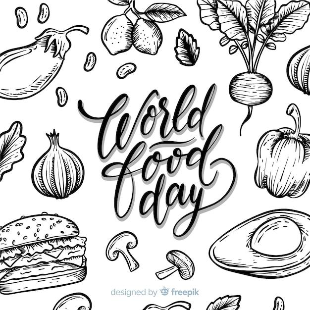 Journée mondiale de l'alimentation dessiné à la main Vecteur gratuit
