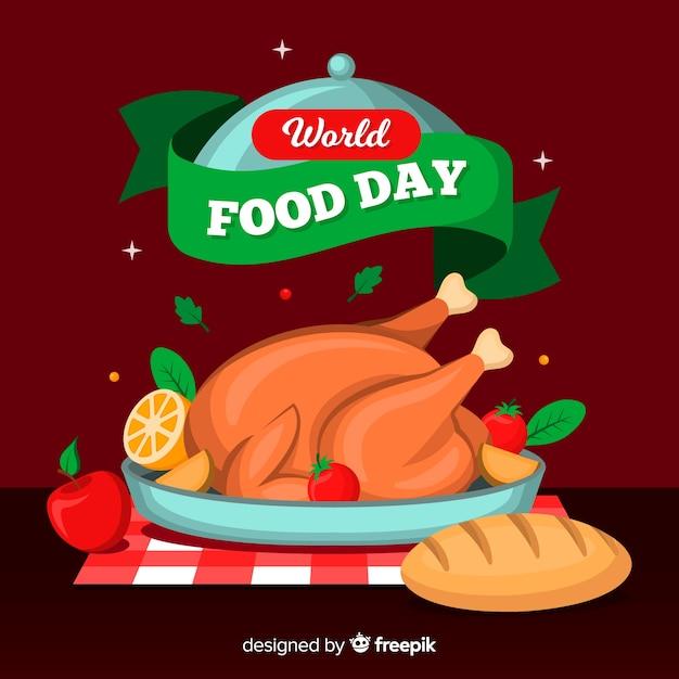 Journée mondiale de l'alimentation avec poulet farci vue de face Vecteur gratuit