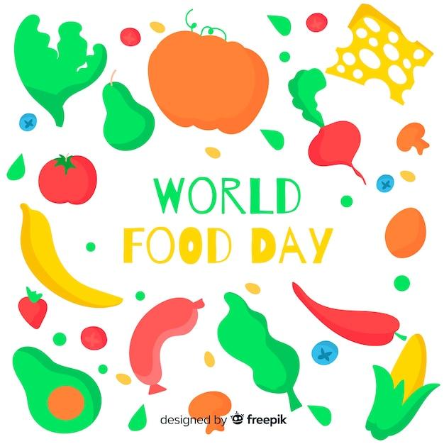 Journée mondiale des aliments sains dessinée à la main Vecteur gratuit