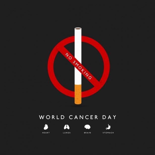 Journée mondiale contre le cancer non affiche fumeurs Vecteur gratuit
