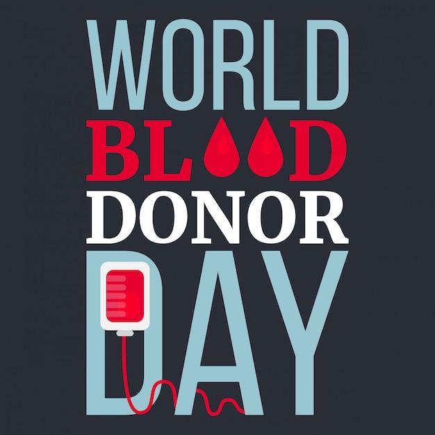 Journée mondiale des donneurs de sang Vecteur Premium
