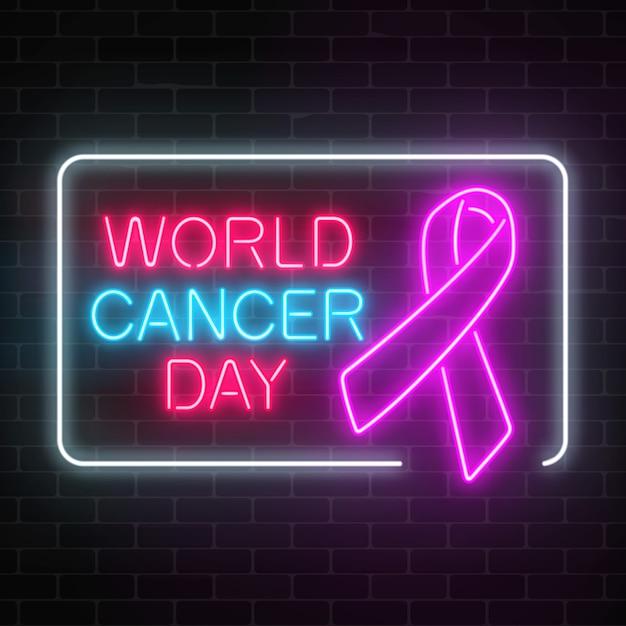 Journée Mondiale Du Cancer Au Néon Signe Lumineux Sur Un Fond De Mur De Briques Sombres. Ruban Rose Comme Mois De Sensibilisation Au Cancer. Vecteur Premium
