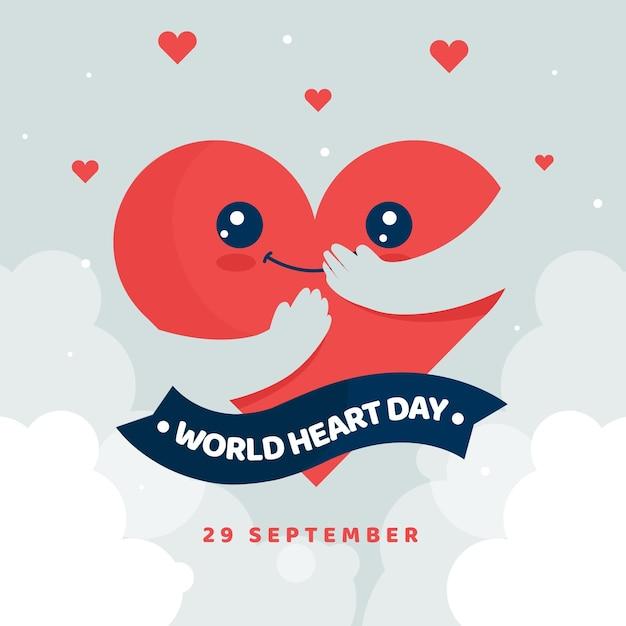 Journée Mondiale Du Coeur Coeur Heureux Se Serrant Dans Ses Bras Vecteur gratuit