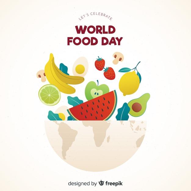 Journée mondiale du design plat avec des aliments dans un bol Vecteur gratuit