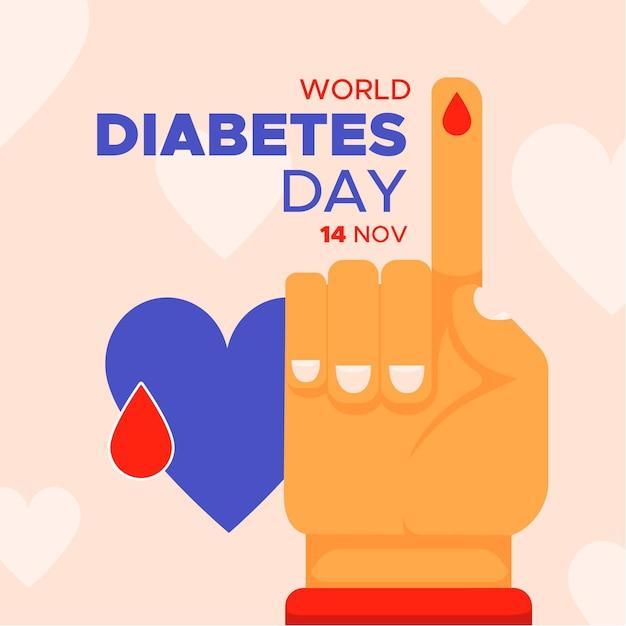 Journée Mondiale Du Diabète Au Design Plat Vecteur gratuit