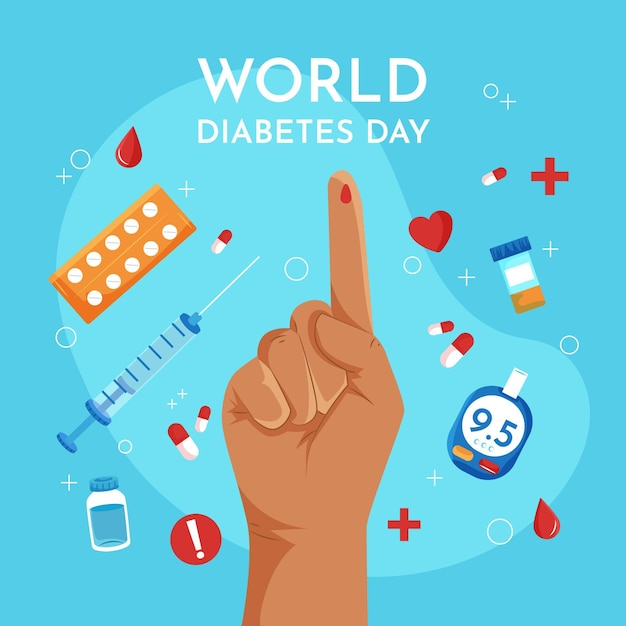Journée Mondiale Du Diabète Design Plat Avec Le Doigt Vecteur Premium