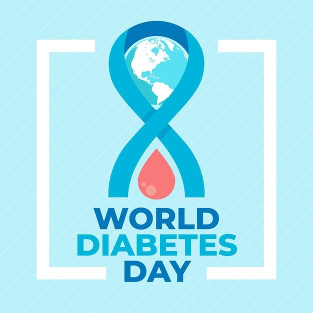 Journée Mondiale Du Diabète Design Plat Goutte De Sang Vecteur Premium