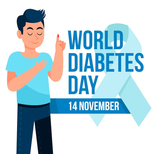 Journée Mondiale Du Diabète Design Plat Vecteur Premium