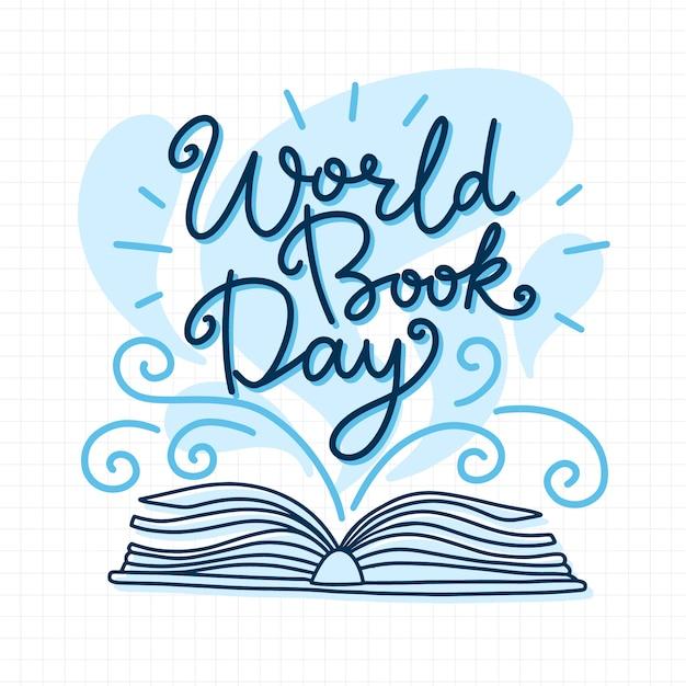 Journée Mondiale Du Livre Dessiné à La Main Vecteur gratuit