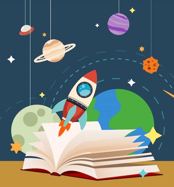 Journée mondiale du livre sur l'espace Vecteur Premium
