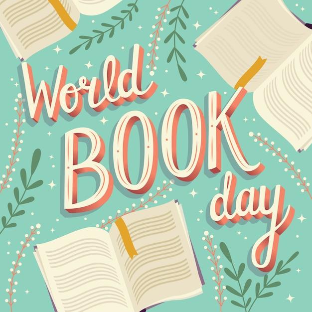 Journée mondiale du livre, lettrage à la main Vecteur Premium