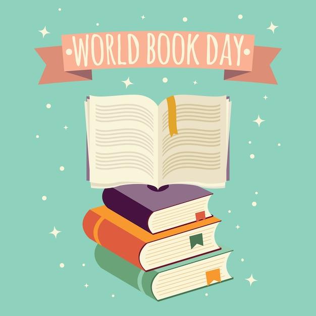 Journée mondiale du livre, livre ouvert avec bannière festive et pile de livres Vecteur Premium