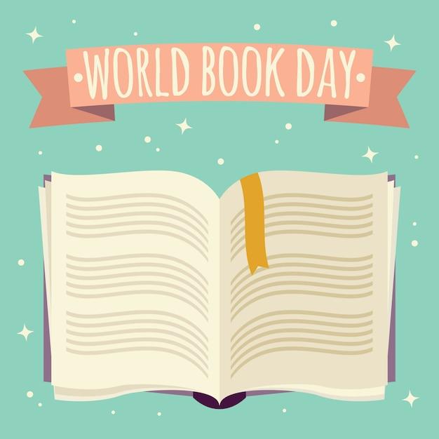 Journée mondiale du livre, livre ouvert avec bannière festive Vecteur Premium