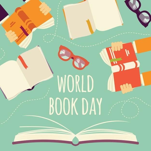 Journée mondiale du livre, livre ouvert avec les mains tenant des livres et des lunettes Vecteur Premium