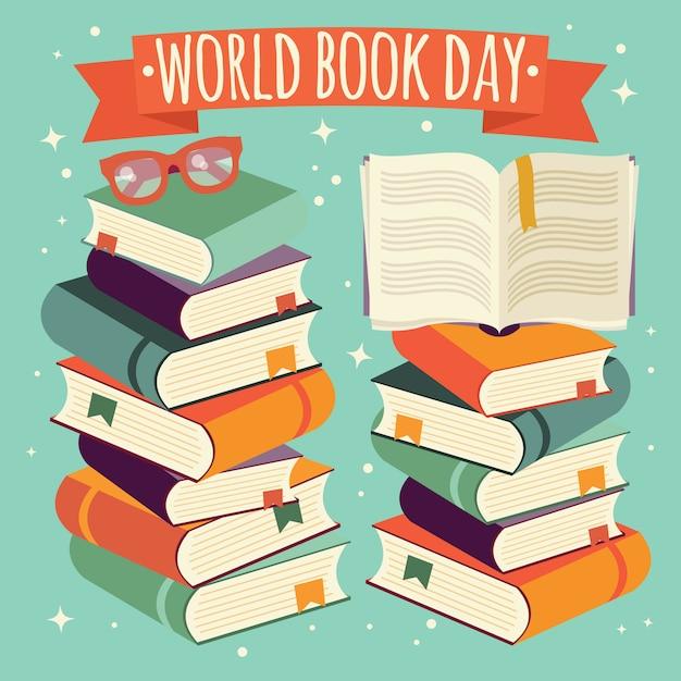 Journée mondiale du livre, livre ouvert sur une pile de livres avec des lunettes sur fond de menthe Vecteur Premium