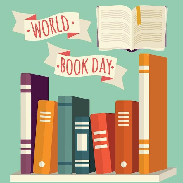 Journée mondiale du livre, livres sur étagère avec bannière festive Vecteur Premium