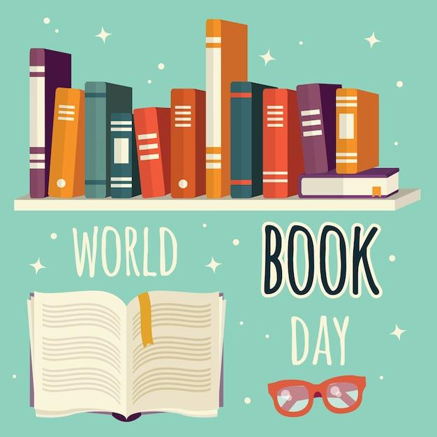 Journée mondiale du livre, livres sur étagère et livre ouvert avec des lunettes Vecteur Premium