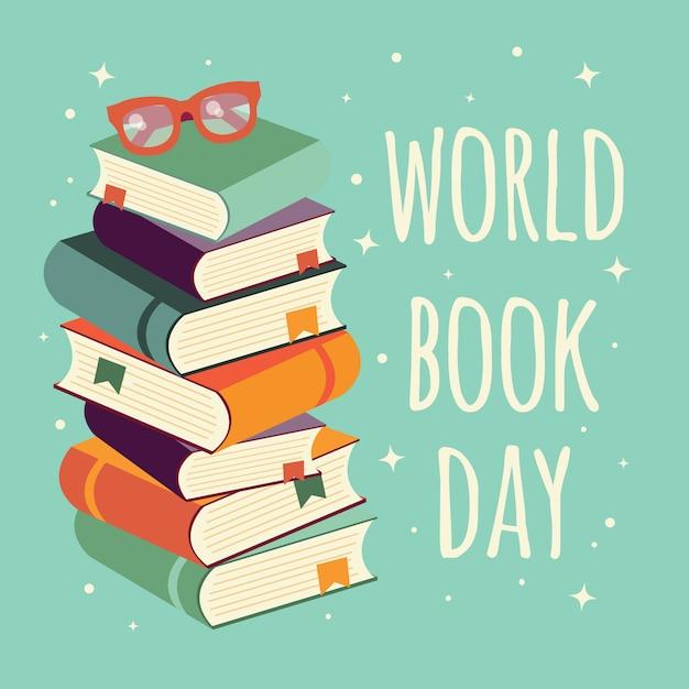 Journée mondiale du livre, pile de livres avec des lunettes sur fond de menthe Vecteur Premium