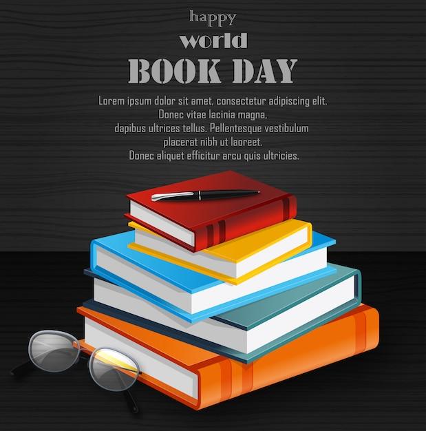 Journée mondiale du livre avec pile de livres Vecteur Premium