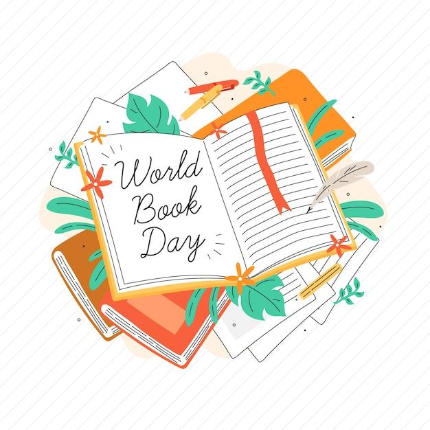 Journée Mondiale Du Livre De Style Dessiné à La Main Vecteur gratuit