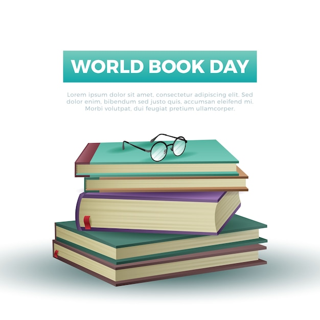 Journée Mondiale Du Livre De Style Réaliste Vecteur gratuit
