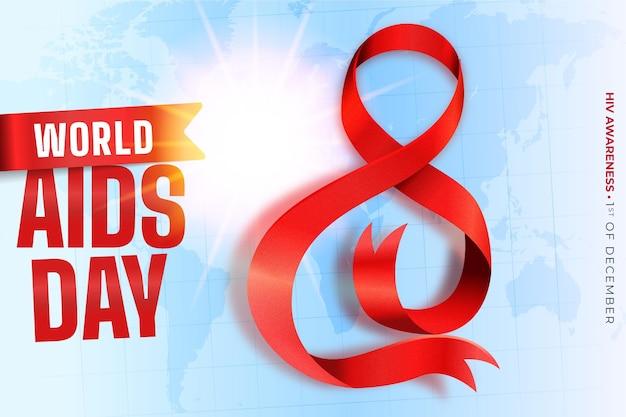 Journée Mondiale Du Sida Réaliste Vecteur gratuit