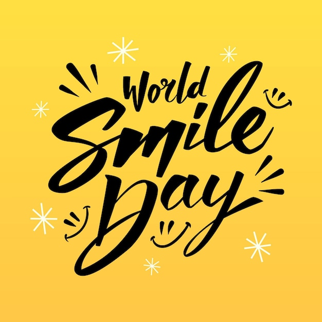 Journée Mondiale Du Sourire - Lettrage Vecteur gratuit