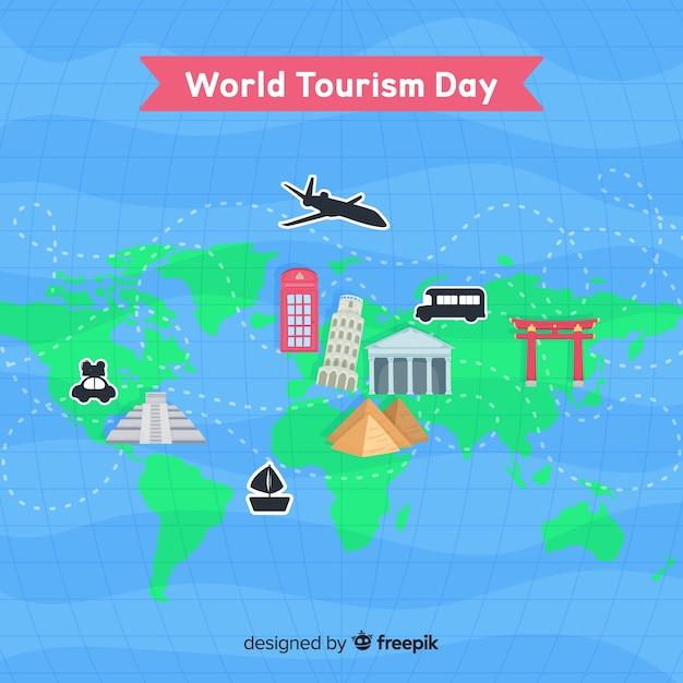Journée mondiale du tourisme avec carte Vecteur gratuit