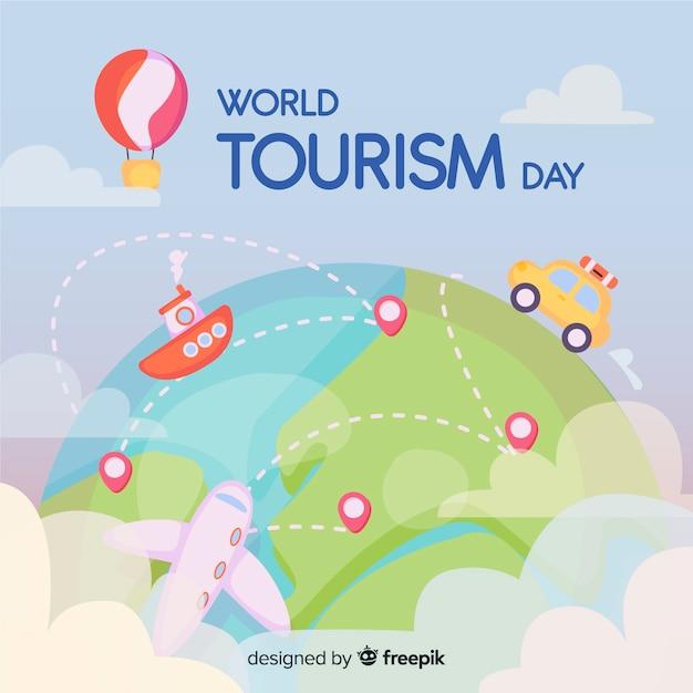 Journée mondiale du tourisme dessinée à la main avec les transports Vecteur gratuit