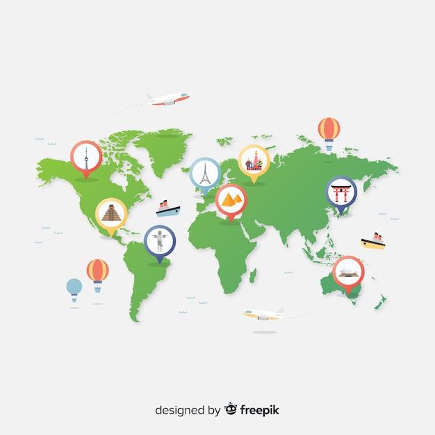 Journée mondiale du tourisme à gradient avec des pinpoints illustrés Vecteur gratuit
