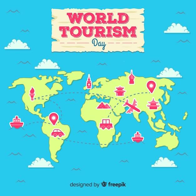 Journée mondiale du tourisme à plat carte 2d Vecteur gratuit