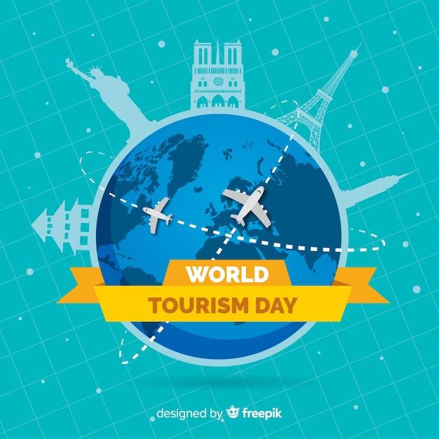 Journée mondiale du tourisme plat avec itinéraires en avion Vecteur gratuit