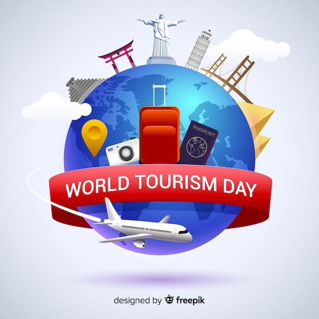 Journée mondiale du tourisme plat avec points de repère et transport Vecteur gratuit