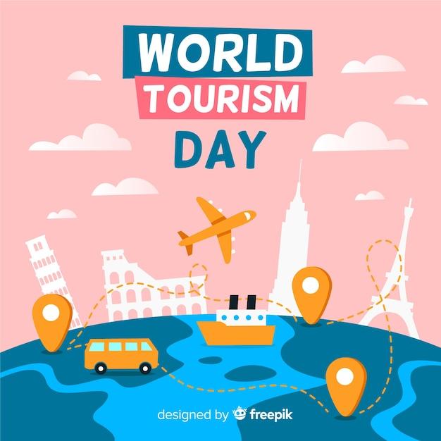 Journée mondiale du tourisme avec points de repère Vecteur gratuit
