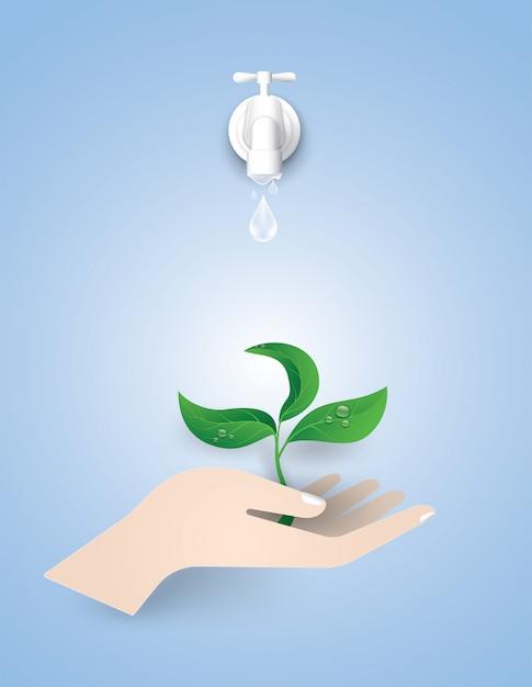 Journée mondiale de l'eau concept. Vecteur Premium