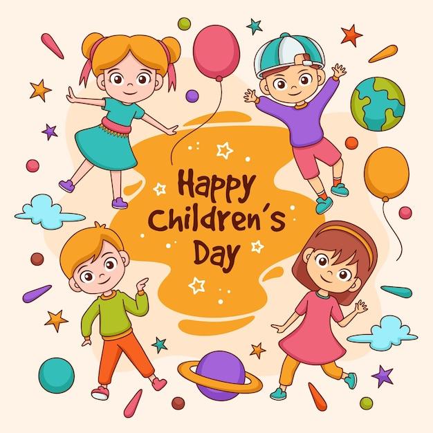 Journée Mondiale Des Enfants Dessinés à La Main Illustrée Vecteur Premium