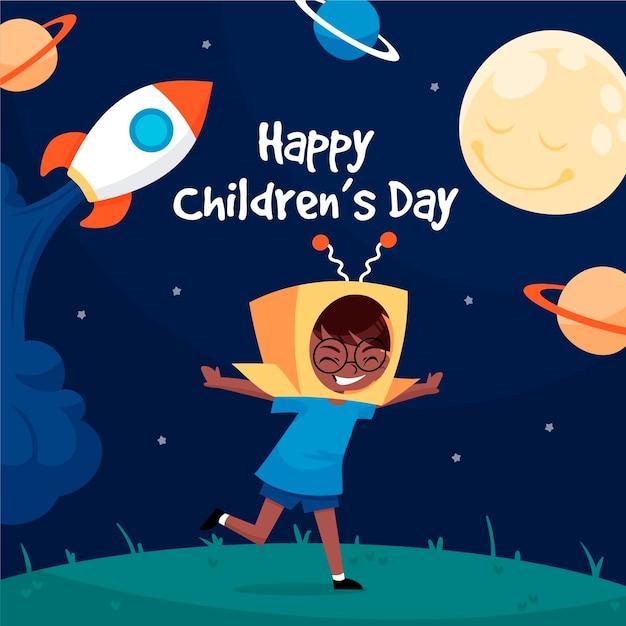 Journée Mondiale Des Enfants Dessinés à La Main Vecteur gratuit