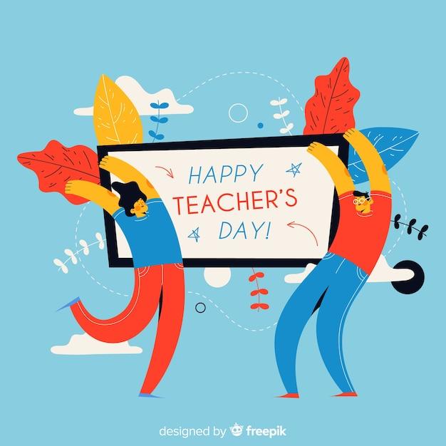 Journée mondiale des enseignants dessinée à la main Vecteur gratuit