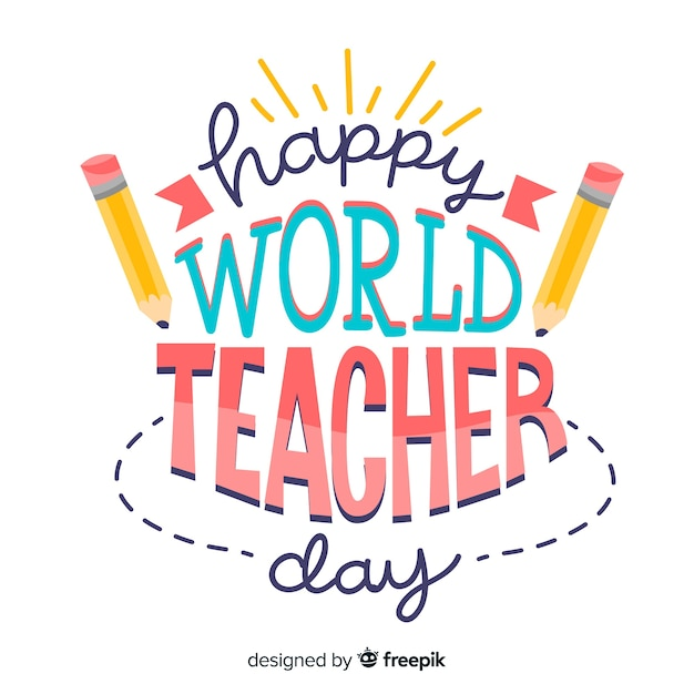 Journée mondiale des enseignants, lettrage aux crayons Vecteur gratuit