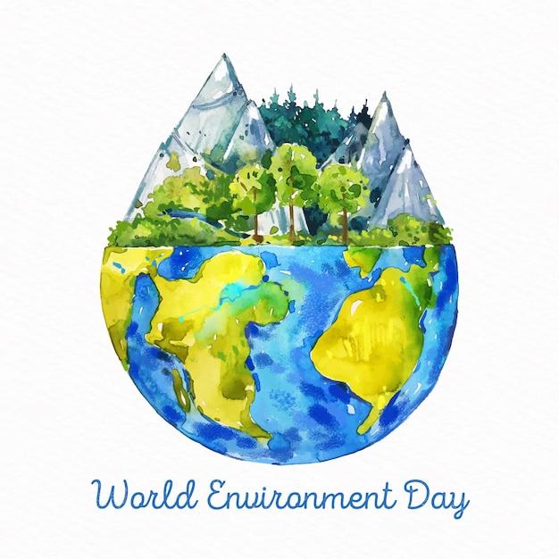 Journée Mondiale De L'environnement Aquarelle Vecteur gratuit