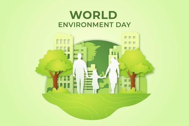 Journée Mondiale De L'environnement Dans Un Style Papier Vecteur gratuit