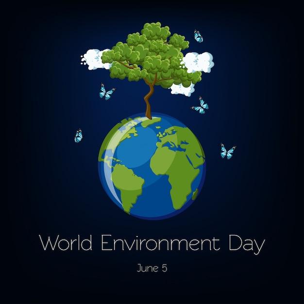 Journée mondiale de l'environnement avec illustration du globe terrestre et des arbres Vecteur Premium
