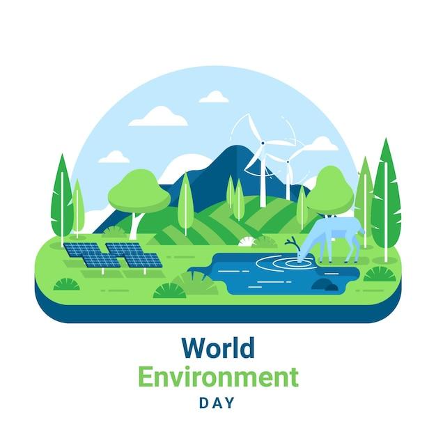 Journée Mondiale De L'environnement Avec Paysage Vecteur gratuit