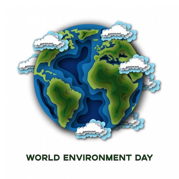 Journée mondiale de l'environnement avec la planète terre isolée on white Vecteur Premium