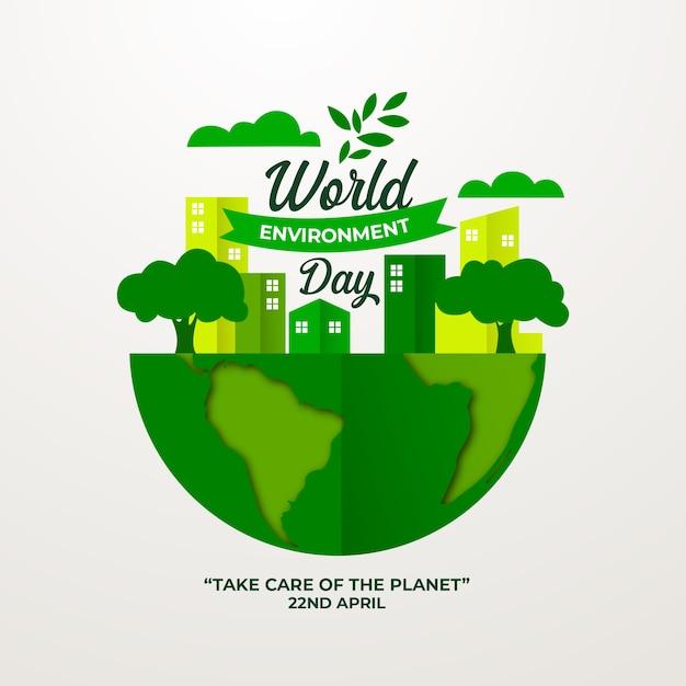Journée Mondiale De L'environnement De Style Plat Vecteur gratuit