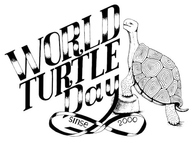 Journée mondiale de l'environnement des tortues Vecteur Premium