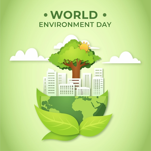 Journée Mondiale De L'environnement Et Ville Dans Un Style Papier Vecteur gratuit