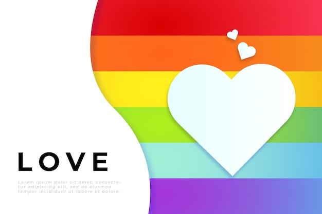 Journée mondiale de la fierté avec drapeau de fierté, coeur blanc et modèle de texte Vecteur gratuit
